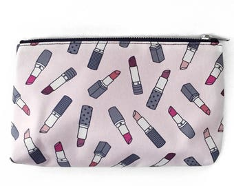 SALE, Slim Cosmetic Pouch, Lipstick Bag, Cute Girly Design, Original Fabric, Graphic Makeup Pouch, Slim Travel Bag, Small Cosmetic Organizer
