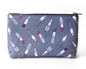 SALE - Slim Cosmetic Pouch, Lipstick Print Bag, Cute Girly Design, Original Fabric, Makeup Pouch, Slim Travel Bag, Small Cosmetic Organizer