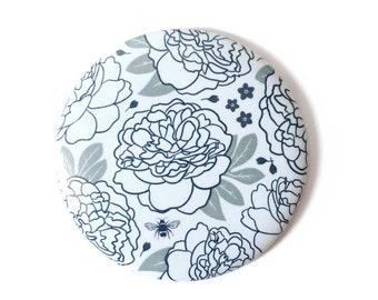 Pocket Mirror, Small Purse Mirror, Floral Peony Design, Monochrome Feminine Color Palette, Add On Gift