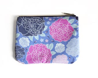 Small Zipper Pouch, Bright Floral Pattern, Colorful Romantic Peony Print; Original Design, Bee Forget-Me-Not Floral Fabric, Cute Tampon Bag
