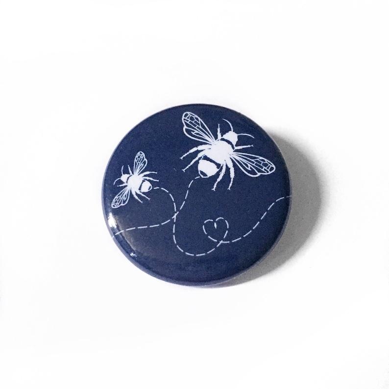 Navy Bumblebee Pinback Button image 0