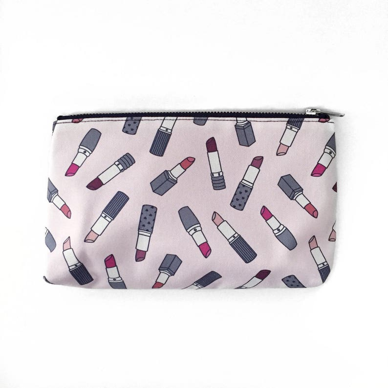 SALE Slim Cosmetic Pouch Lipstick Bag Cute Girly Design image 0