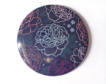 Pocket Mirror, Small Purse Mirror, Floral Peony Design, Moody Feminine Color Palette, Add On Gift