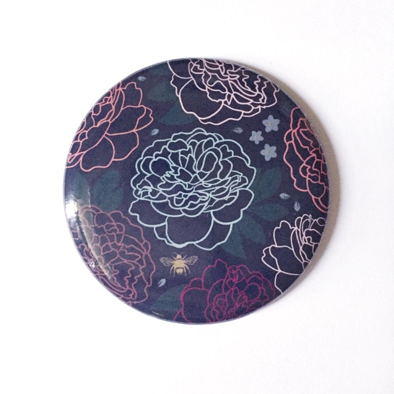 Pocket Mirror Small Purse Mirror Floral Peony Design Moody image 0