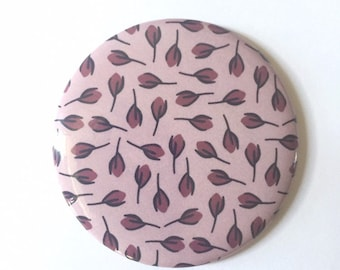 Pocket Mirror, Small Hand Mirror, Pink Floral Design, Soft Feminine Color Palette, Add On Gift