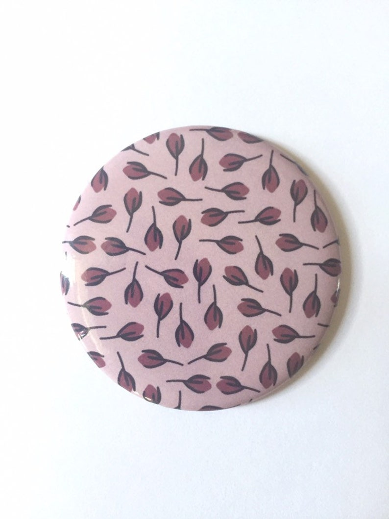 Pocket Mirror Small Hand Mirror Pink Floral Design Soft image 0