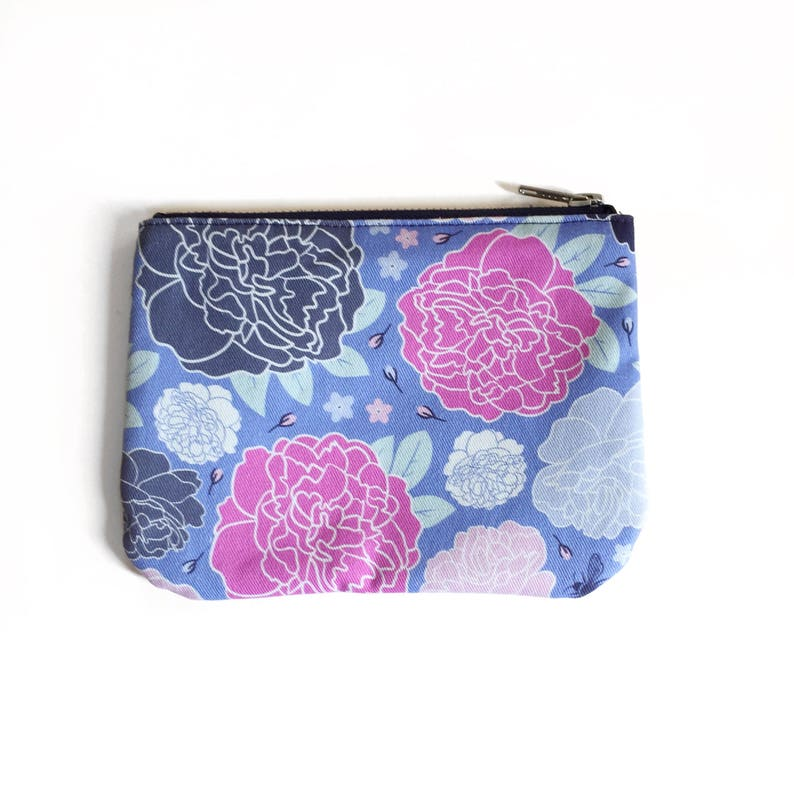 Small Zipper Pouch Bright Floral Pattern Colorful Romantic image 0