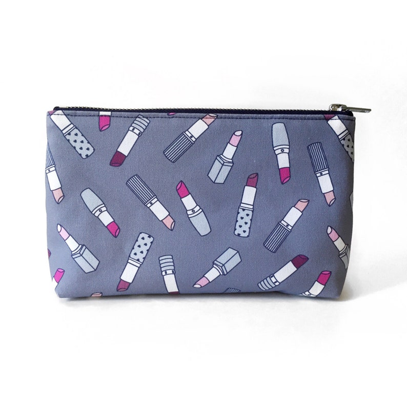 SALE  Slim Cosmetic Pouch Lipstick Print Bag Cute Girly image 0