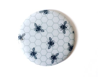 Pocket Mirror, Small Bumblebee Hand Mirror, Monochrome Color Palette, Add On Gift
