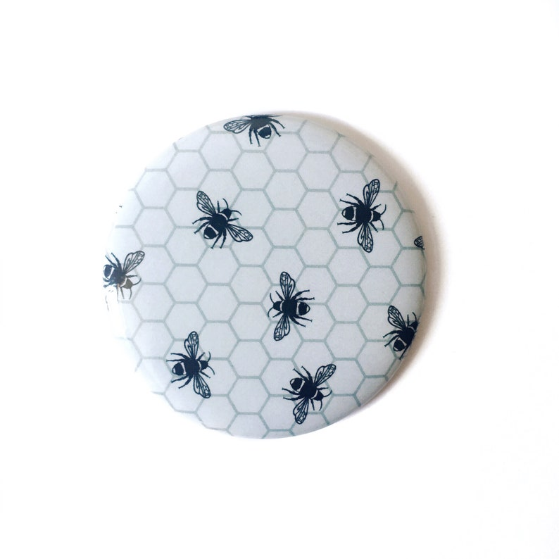 Pocket Mirror Small Bumblebee Hand Mirror Monochrome Color image 0