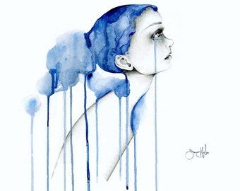 Blue Abstract Painting Women in Art Print Original Sad Girl Pencil Drawing Crying Watercolor Depression Mental Health Awareness Illustration