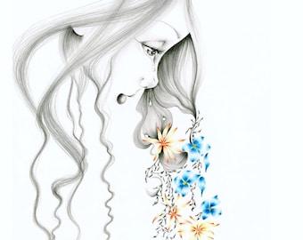 Original Mixed Painting Reproduction Drawing of a Girl Sad Crying Girl Canvas Print Crying Girl Artwork Giclee Art Mixed Flower Art Decor