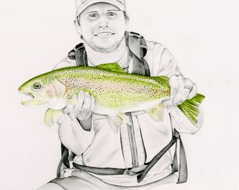 Father's Day Gift Fishing Men Personalized Fishing Gift for Dad Outdoorsman Gift Husband Gift Fisherman Lovers Gift Drawn Portrait Fishing
