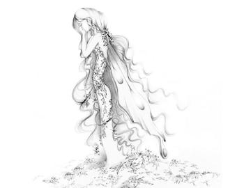 Fairy Pencil Drawing Fine Art Print of a Fairy Sad Grieving Art Drawing of a Fairy Gift for Grieving Family Heartbroken Fantasy Drawing Sad