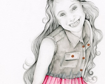 Custom Portrait Watercolor Painting, Custom Portrait from Photo, Personalized Son Daughter Portrait Hand Drawn Abstract Watercolor Portrait