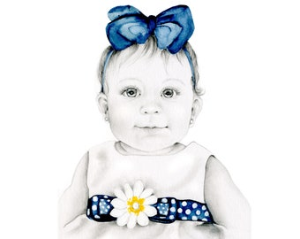 Personalized Mom Gift Custom Portrait From Photo Original Drawing Custom Baby Daughter Gift to Dad Original Pencil Drawing Portrait Birthday