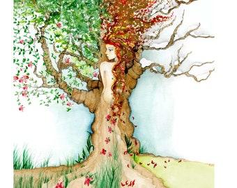 Four Seasons Fall Decor Autumn Decor Tree of Life Tree Woman in Tree Painting Print Nature Drawing Original Art Print Fall Wall Art Autumn