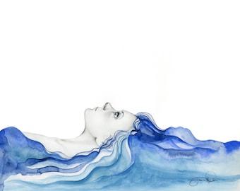 Summer Art Women Art Blue Watercolor Painting Print Tropical Beach Wall Art Blue Hair Ocean Large Painting Print Sea Abstract Woman Decor