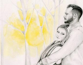 Couple Portrait Custom Couples Portraits Gift for Couples Hand Drawn Portrait from your Photo Personalized Couple Pencil Portrait Memento