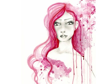 Painting Pink Abstract Combination Paintings Original Art Pink Watercolor Pencil Drawing Girl Women In Art Pink Hair Expressionist Painting