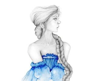 Original Art Painting of a Women in Art Blue Dress Abstract Painting Print Girl Wife Gift Fine Art Originals Fantasy Artwork Beautiful Woman