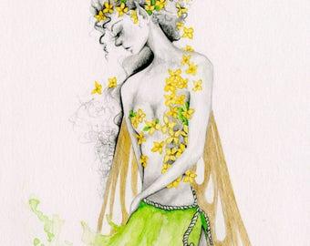 Fairy Art Print Gift for Her Fairy Art Drawing Illustration  Print of my Original Pencil Drawing Woodland Fairy Art Print Green Faery Art