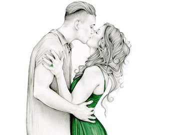 Custom Portrait Hand Drawn from Photo Portrait Drawing Painting Personalized Couples Original Wedding Gift Pencil Illustration Bride Groom