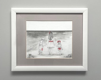 Custom Portrait Hand Drawn from Your Photo Pencil Drawing Unique Gift for Her Daughter Portraits from Mom Christmas Gifts Custom Paintings