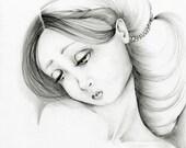 Articles Similaires à Jeune Fille Giclée Art De Dessin Dune