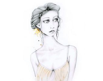 Original Drawing of a Girl Original Combination Painting Minimalist Women in Art Beautiful Melancholy Fine Art Originals Pretty Girl Decor