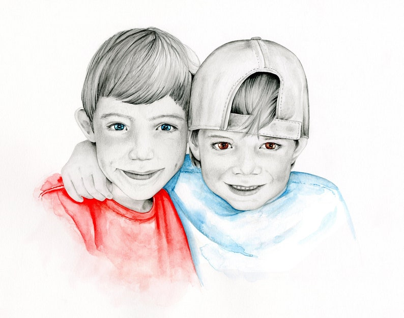 c62c843b4148 Custom Portrait Siblings Gift Brothers Gift Personalized Gift   Etsy