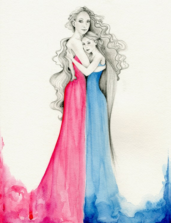 Custom Mother Daughter Drawing Fantasy Painting Drawing Of -8369