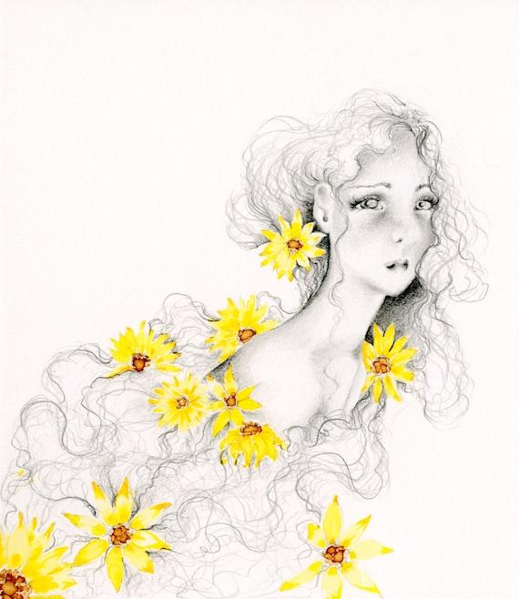 Zeichnung eines Mädchens mit Blumenmalerei drucken | Etsy