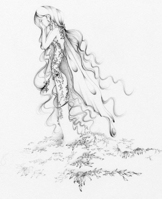 Marchen Bleistift Zeichnung Fine Art Print Einer Fee Traurig Etsy