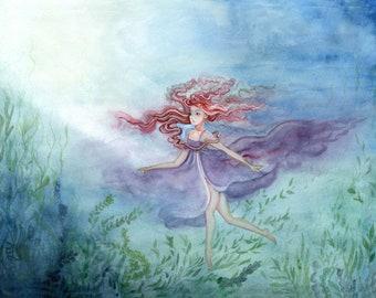 Original Art Original Painting Women in Art Blue Woodland Landscape Painting Print Girl Wife Gift Fine Art Originals Fantasy Artwork