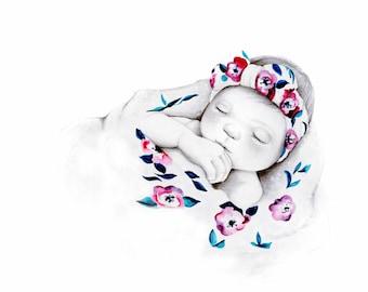 Pencil Drawing Custom Portrait Stillborn Baby Gift for Mom Dad Original Illustration Baby Memorial Infant Loss Gift Stillbirth Unique Art