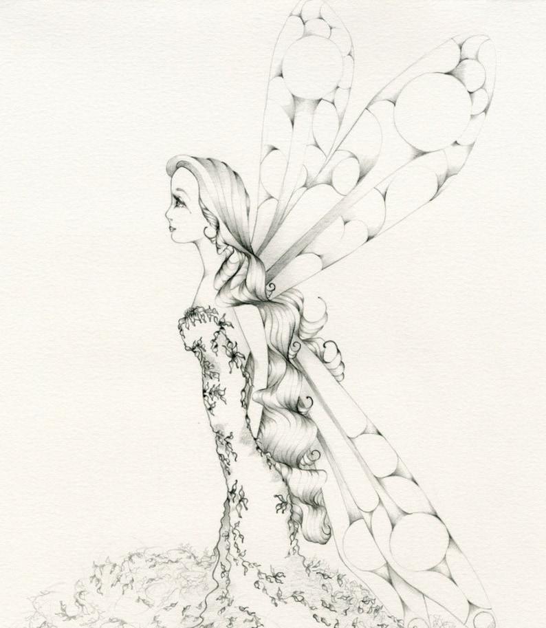 Original Fairy Drawing One of a Kind Fairy Decor Fine Art Originals Fantasy Art Women Minimalist Art Fairy Pencil Drawing Fairy Illustration