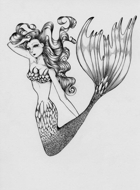 ähnliche Artikel Wie Original Meerjungfrau Bleistift Zeichnung