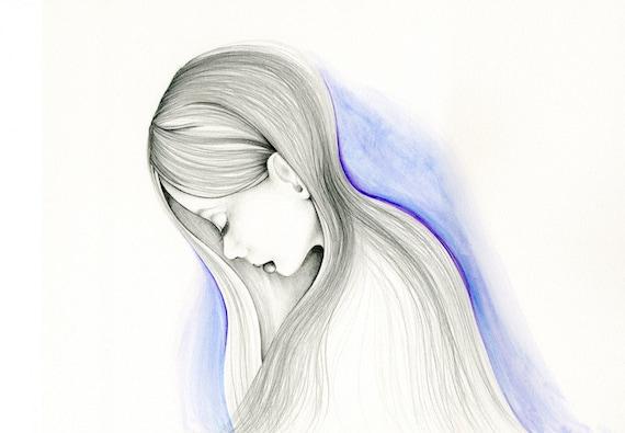 Trauriges Madchen Malerei Aquarell Malerei Bleistift Zeichnung Etsy