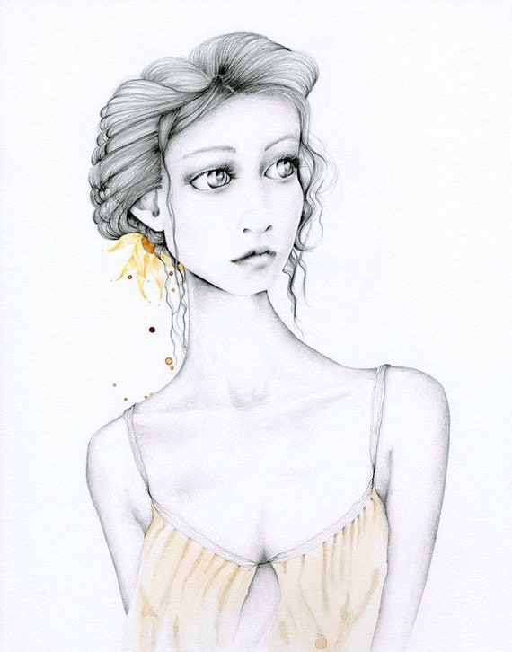 Original Drawing Of A Girl One Of A Kind Pencil Drawing Women Etsy