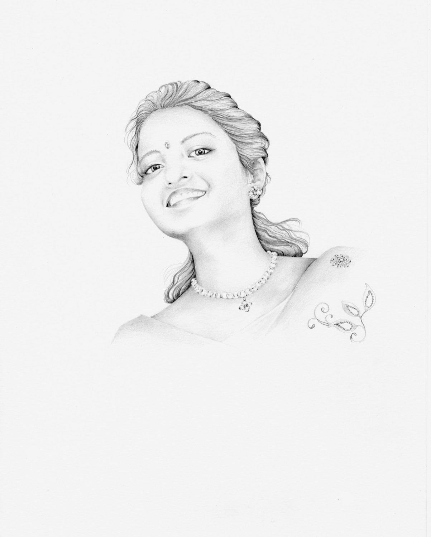 custom portrait drawing hindu portrait indian portrait wife etsy Sculpting Facial Hair 50