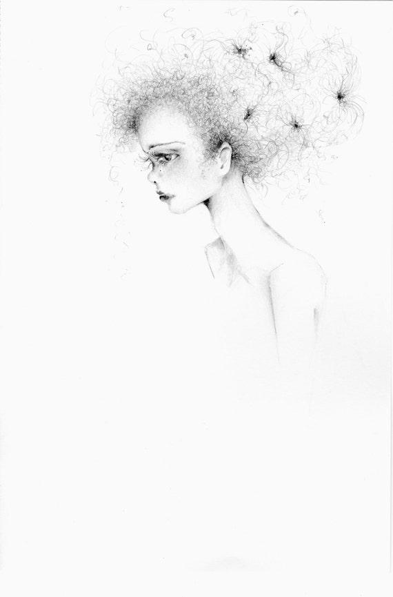 Minimalistische Bleistift Zeichnung Von Einem Madchen Frauen Etsy
