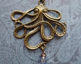 Steampunk Victorian Octopus Necklace with Swarovski Crystal Drop