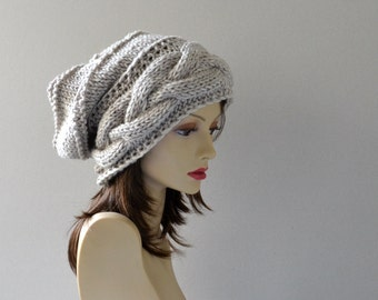 Womens Hat  Slouchy Hat  Slouchy Women Hat  Slouch Beanie Cable Women Hat Oversized Hat  Cable Hat  Chunky Knit Hat Beanie