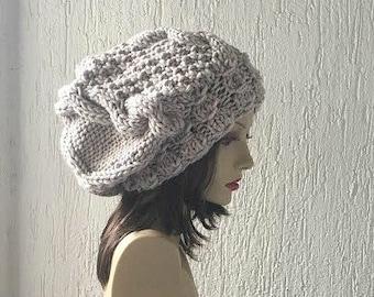 Hand Knit Hat  Women Hat Winter Hat Slouchy Knit