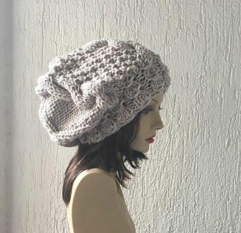 Hand Knit Hat  Women Hat Winter Hat Slouchy Knit image 0