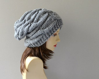 Women Hat - Hand Knit Hat - Slouchy Women Hat -  Cable Hat in Grey - Oversized Hat - Chunky Knit