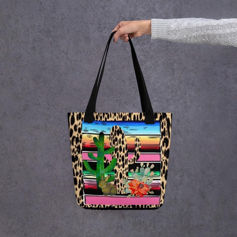 Fiesta Serape Cheetah Cactus Flower Cacti Rabbit Cute Gift Feminine Canvas Tote bag