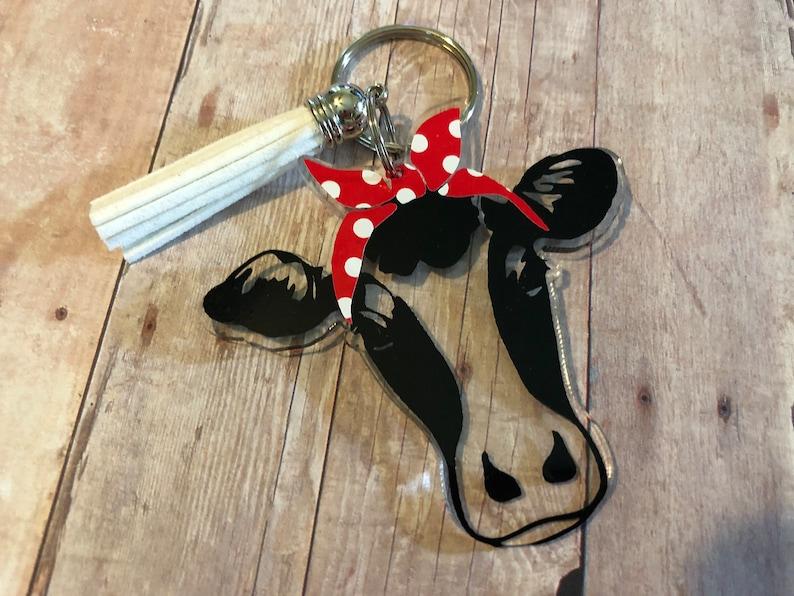 Handbag Cow Key Fob Cow with Red Bandana Farmhouse Key Fob Cow Key Chain Cow Key Ring Accessories