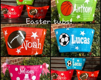 Easter Baskets - Easter Tubs - Easter Buckets - Easter - Easter Pail - Football - Soccer - Ballet - Easter Candy - Personalized Baskets
